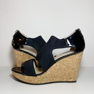 Black Strappy Open Toe Cork Wedges Sandals